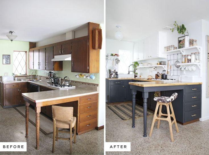Rénover les anciens meubles de cuisine avec un peu de peinture (on retrouve l'idée de clair en haut et foncé en bas que j'aime beaucoup) Les meubles haut sont posés plus haut, suppression de certains meubles et ajout d'étagères.