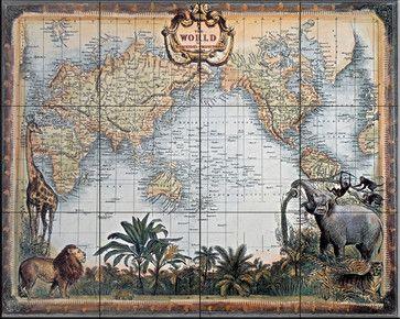 Tile Mural - World Map - Kitchen Backsplash Ideas traditional-tile-murals