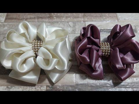 DIY - Flor de fita de cetim  Flower satin ribbon - DIY - YouTube