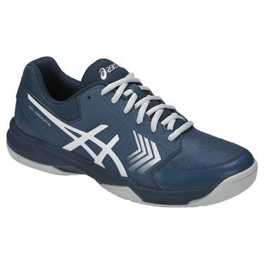 The new Asics Gel-Dedicate 5 men's tennis shoe, in a dark blue and