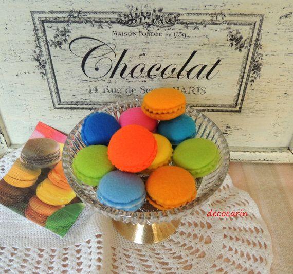 Felt Food Felt 10 Macaroons Felt Cookies French by decocarin