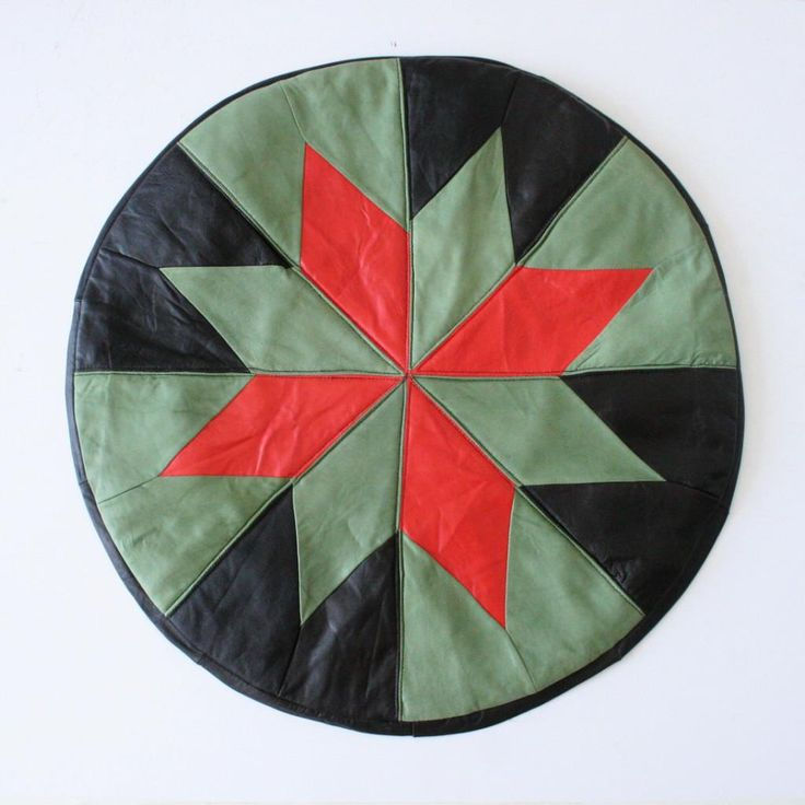 Green & Red Star Turkish Leather Pouffe