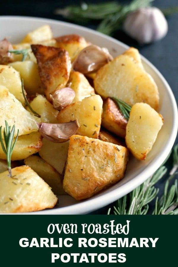Oven Roasted Garlic Rosemary Potatoes A Healthy Side Dish After My Own Heart Great Rosemary Potatoes Thanksgiving Recipes Side Dishes Roasting Garlic In Oven