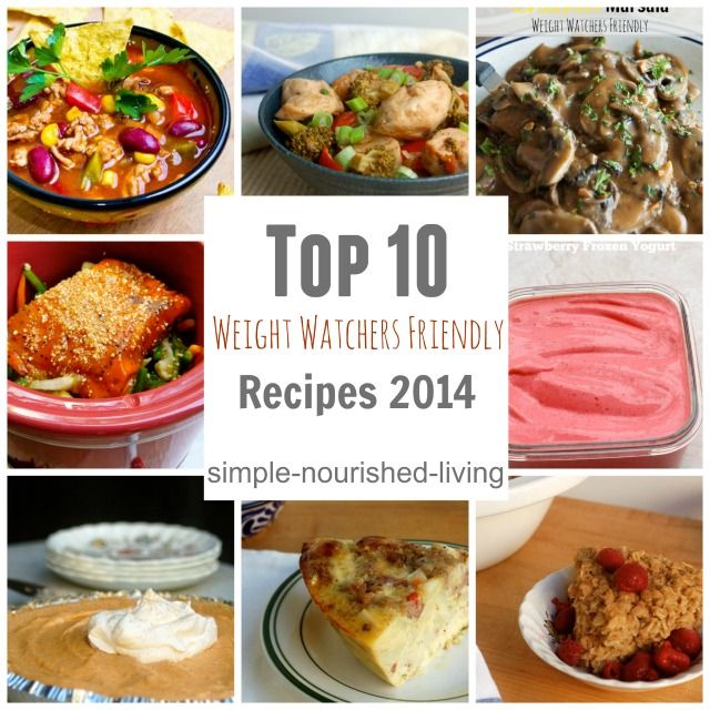 The Top 10 Weight Watchers Friendly Recipes of 2014 from Simple Nourished Living. All with calories and Points Plus. http://simple-nourished-living.com/2015/01/top-10-weight-watchers-recipes-2014/