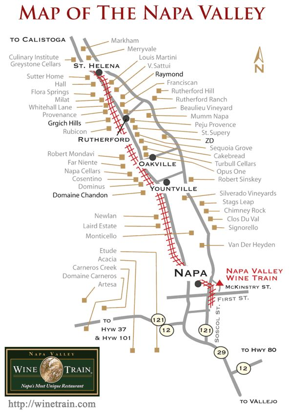 Napa Valley Map with Wine Train Route