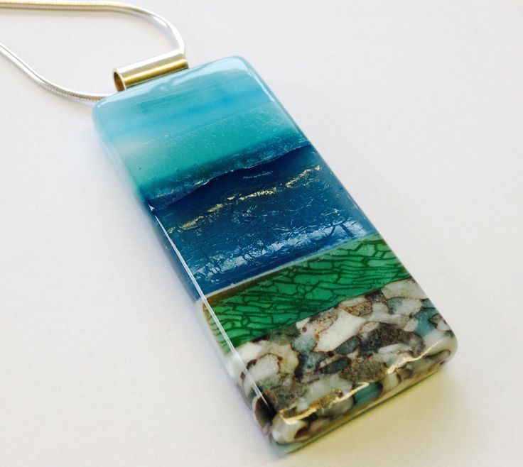 Glass landscape pendant clairehallglass.co.uk