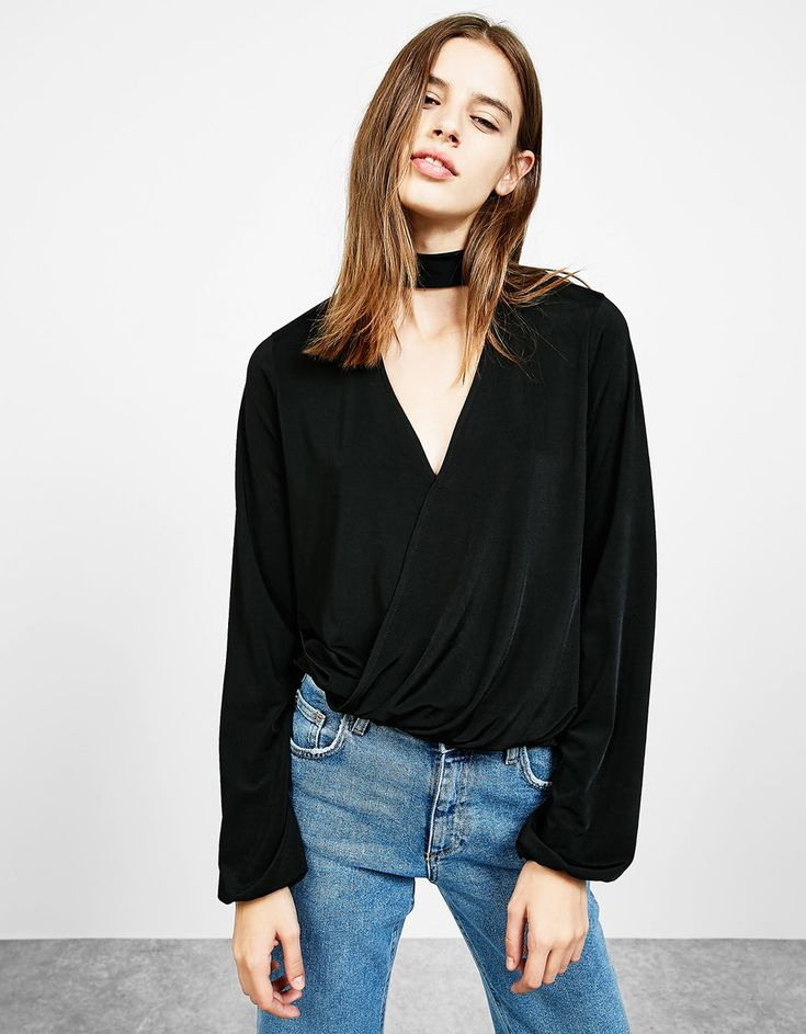 Long sleeve crossover top. Discover this and many more items in Bershka with new products every week