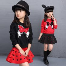New Cute Butterfly Dívčí oblečení Set s dlouhým rukávem T-shirt + Minnie kostým 2ks dětské oblečení pro volný čas věk pro 2 -9T (Čína (pevninská část))