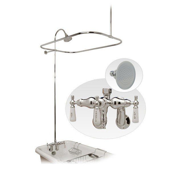 Tub Wall Mount Clawfoot Tub Shower Enclosure With Faucet And