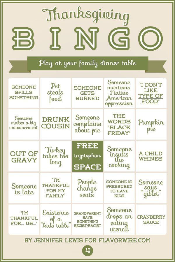 Thanksgiving Bingo for Your Dinner Table