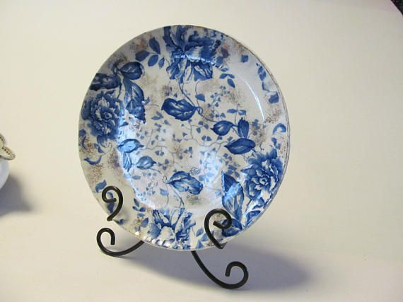 Roses Flow Blue Plate Flow Blue China Bowls Dark Blue and