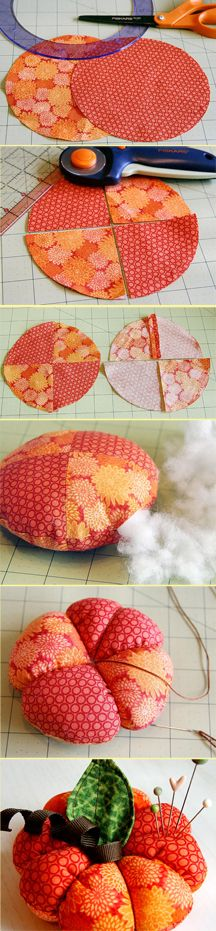 Pumpkin Pincushion or use bigger fabric and use the design as a pretty fall pillow!