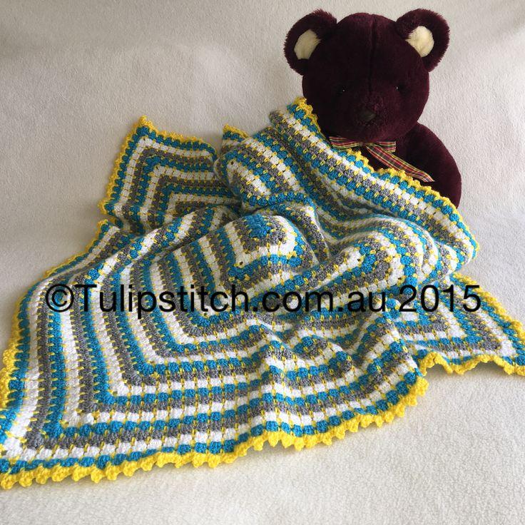 Block stitch rectangular baby blanket