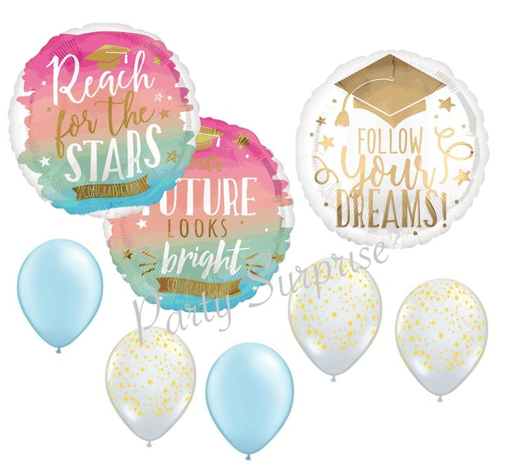 Graduation Balloon Package Reach for the Stars Gold Foil Mylar and Latex Graduation Party Decorations Balloon Bouquet