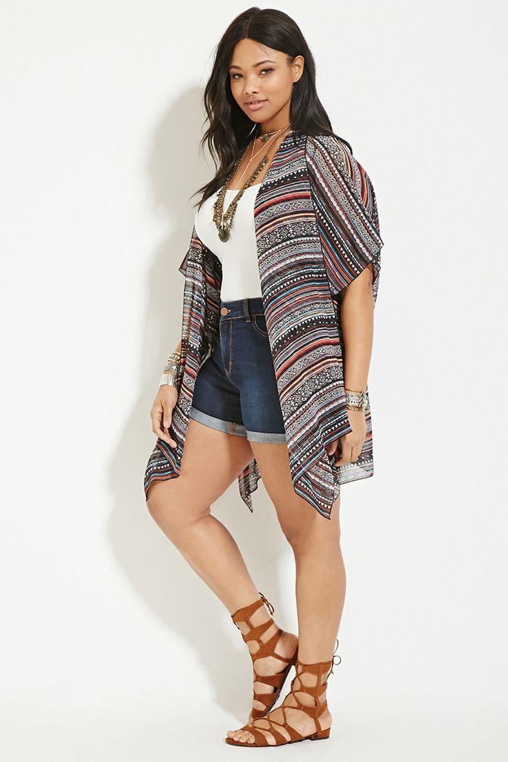 Plus Size Tribal Print Kimono