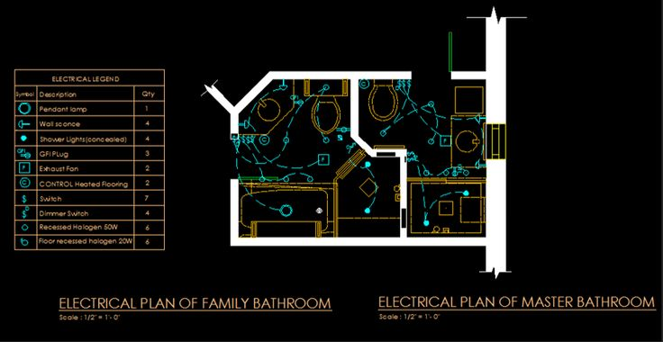 Computer Generated Electrical Plan of Same Adjacent Bathrooms.