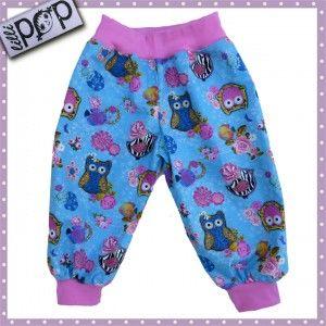 LilliPOP byxor, ljusblå och rosa ugglor
