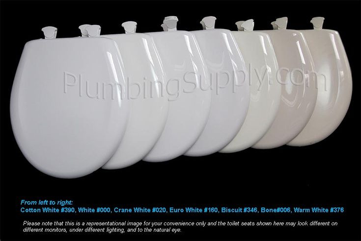 """A range of white toilet seats for color comparison.Just like when you paint your house or purchase clothing, there are varying shades of """"white"""" for toilet seats too.  For example, Cotton White is a Toto color often described as glaringly """"white"""" white. It's very close to Kohler, Briggs, Mansfield, and Gerber versions of white. Most people feel it doesn't match American Standard's white as well as they would like."""