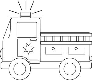clip art black and white | Firetruck Clipart Image Black And White Fire Truck Racing To A Fire.