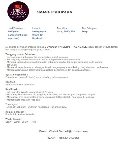 Job advertising for Sales Retail position