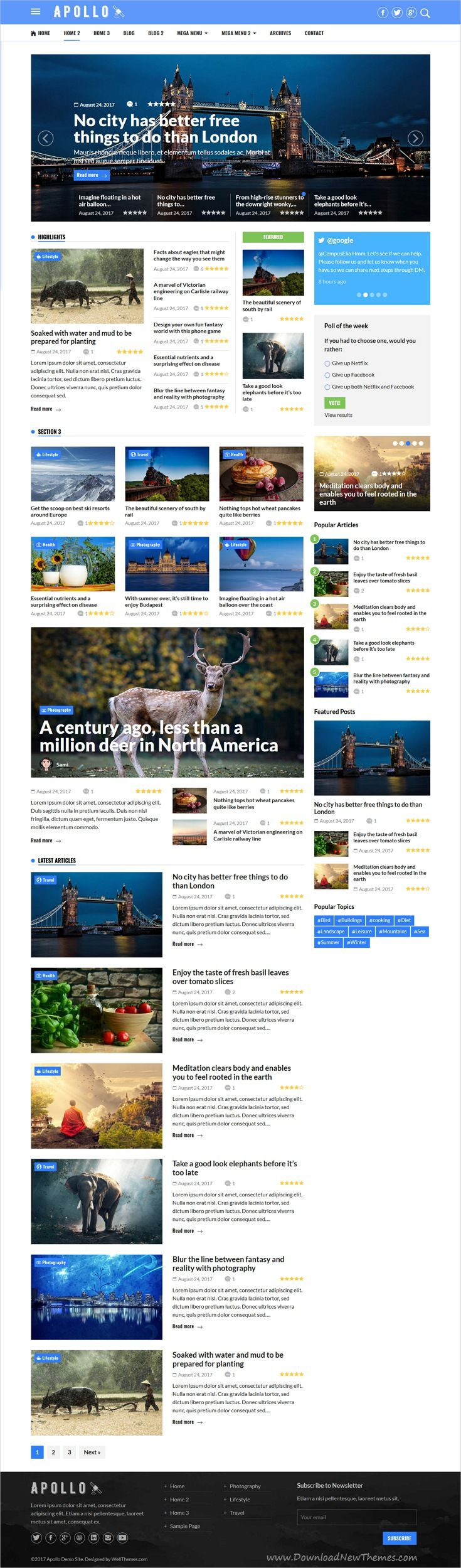 Apollo is clean and modern design 5in1 responsive #WordPress theme for #news, #blog and #magazine websites download now..