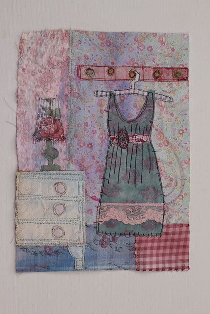 Summer Dress by jillyspoon, via Flickr. Painted fabric, free motion stitched. Made on a course with Priscilla Jones at Harrogate Embroiderers Guild. A great way to recycle old fabrics