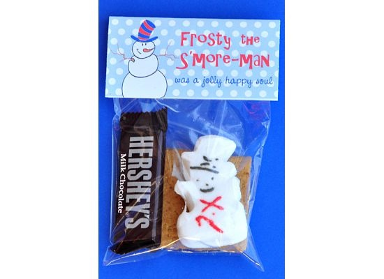 """For each Frosty the S'more-man, you'll need: 2 graham cracker squares 1 mini chocolate bar 1 Snowman Peep 1 cello bag - mine measure 4""""x6"""" and I purchased them at Hobby Lobby.  Michael's also carries them 1 FREE printable bag topper (below), and double stick tape or staples."""