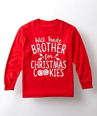 Red 'Trade Brother for Cookies' Long-Sleeve Tee - Toddler & Kids #zulily #zulilyfinds