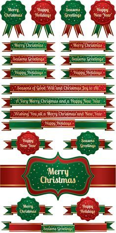 2 Sets of 20 vector Merry Christmas lettering templates, colorful ribbons, labels and Christmas badges for your greeting cards, banners, brochures, holiday posters, advertisement graphics, etc. Format: ai, tif stock vector clip art and illustrations. Free for download. Set name:…