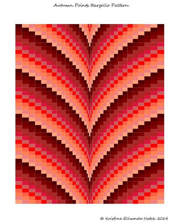 Autumn Points Bargello Quilt Pattern & by stickysugarstitches