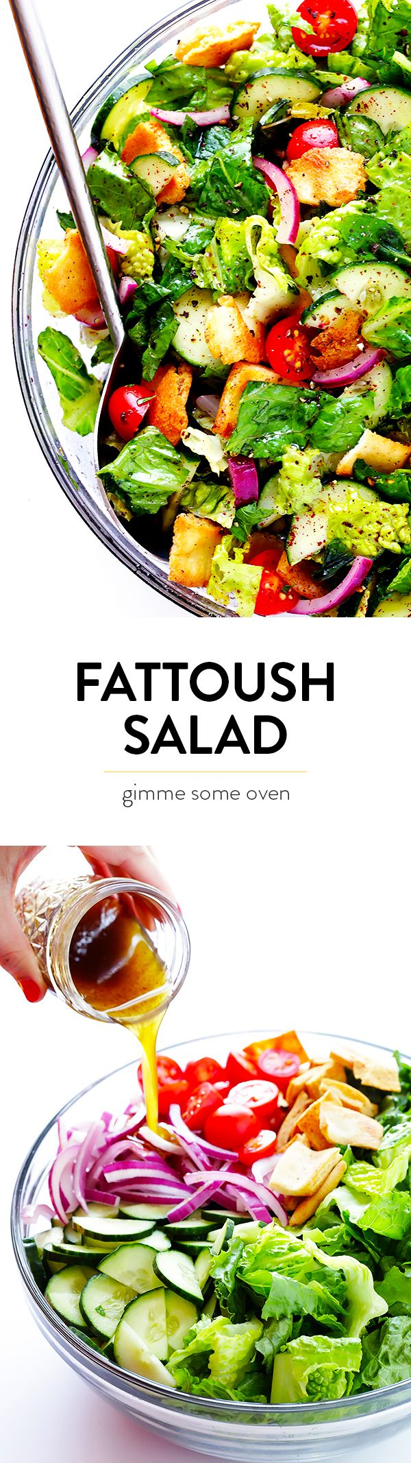 This classic Fattoush Salad recipe is quick and easy to make, and made with a zesty lemon dressing.   gimmesomeoven.com