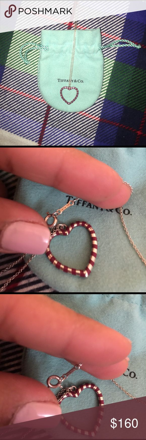 Heart necklace Red enameled stripe Tiffany heart necklace. This is from the Paloma line. Classic and beautiful. Make a fair offer. 16 inch chain, heart is not remove able Jewelry Necklaces