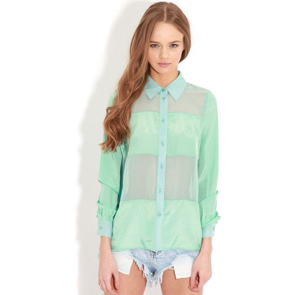 Helena Mint Mesh Panel Blouse ($5.22) ❤ liked on Polyvore featuring tops, blouses, green, mint top, shirt blouse, mesh insert top, mint green shirts and green shirt