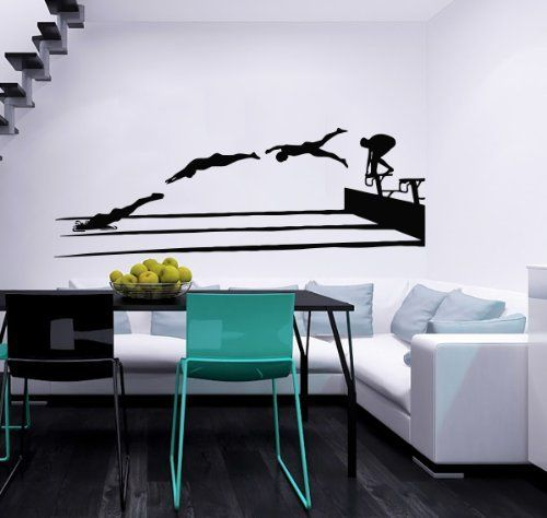 Swimmer Swim Swimming Water Sport Wall Decals Vinyl Sticker Home Interior Decor for Any Room Housewares Mural Design Graphic Bedroom Wall Decal (5719), http://www.amazon.com/dp/B00K90FMQ8/ref=cm_sw_r_pi_awdm_5MWlub0AWJ49Q