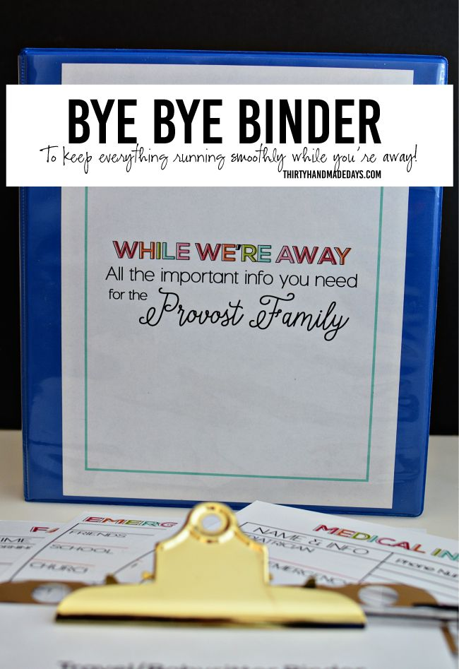 Bye Bye Travel Binder for Babysitting when parents are away. Get the printable binder  pages at www.thirtyhandmadedays.com