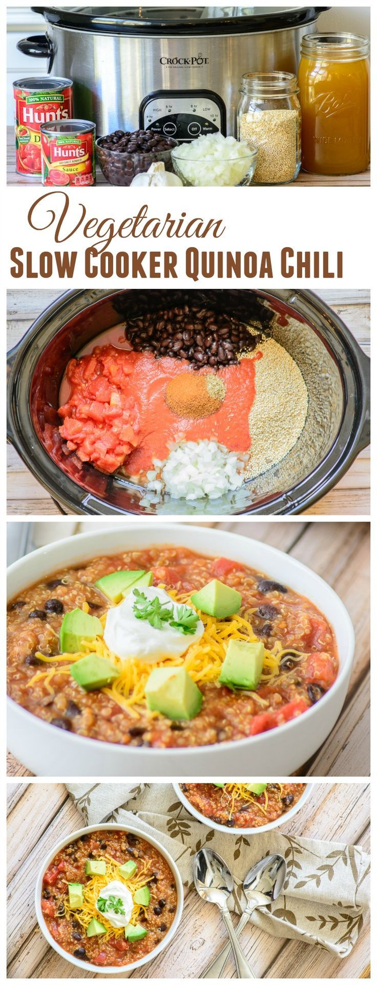 Thick and Hearty Vegetarian Slow Cooker Chili Recipe. Perfect for crisp fall evenings. No prep time needed, just throw the ingredients in you slow cooker and cook on low for 5 hours. So easy!!