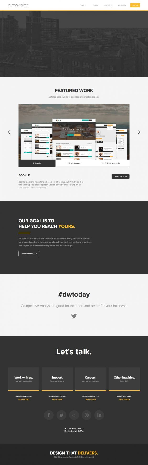 Dumbwaiter - A Full-Service Web Design and Development Firm www.niceoneilike.com #Agency, #Studio, #Responsive #Design, #jQuery, #Development, #Creative, #Inspiration, #Scrolling #Site, #Design