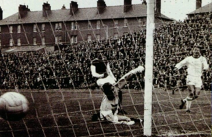 Action from Dundee United v Hibs at Tannadice. (1960s)