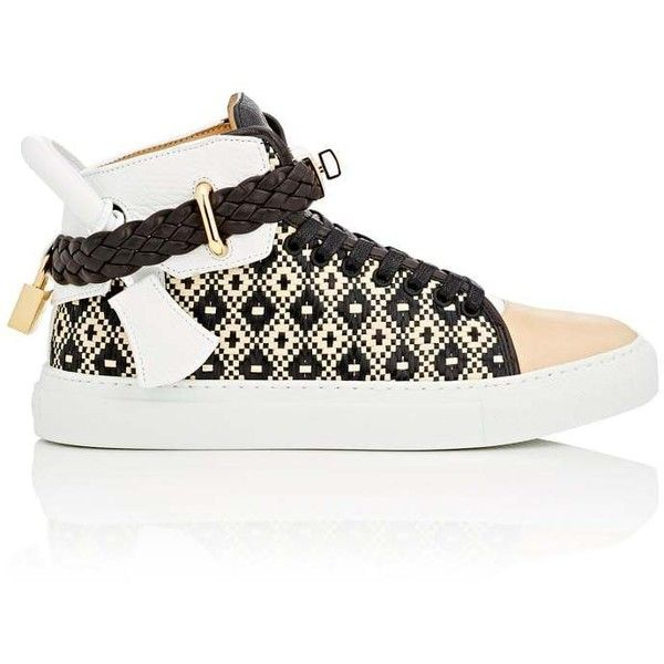 Buscemi Women's Women's 100MM Raffia & Leather Sneakers ($1,000) ❤ liked on Polyvore featuring shoes, sneakers, leather lace up sneakers, hi tops, buscemi sneakers, lace up shoes and lace up high top sneakers
