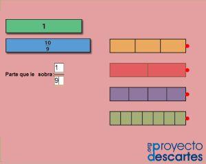PROYECTO CANALS. Fracciones impropias - parte 1. Ver la relación entre la expresión numérica en forma de fracción y su representación gráfica y trabajar de forma manipulativa las primeras relaciones entre fracciones, preparando así las futuras operaciones. También se puede iniciar la proporcionalidad y poner las bases para los porcentajes.
