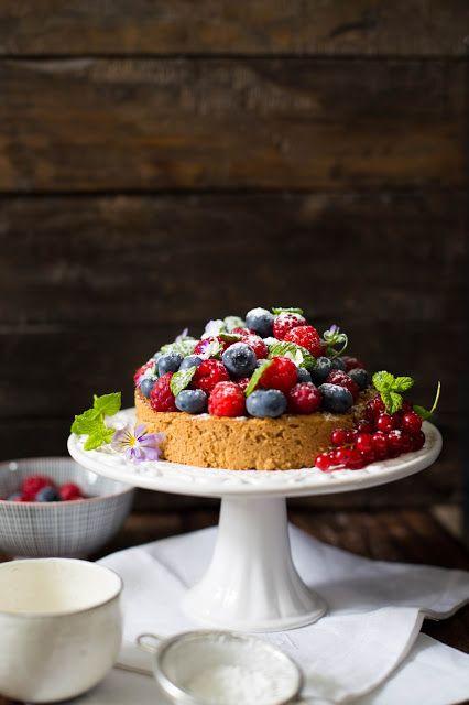 Beautiful Vegan Almond Cake with Summer Berries. Made with Aquafaba!