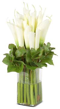 Calla Lily Arrangement, White - contemporary - artificial flowers - New Growth Designs