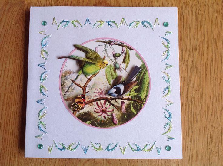 Embroidered 3D card with birds - Geborduurde 3D kaart met vogels