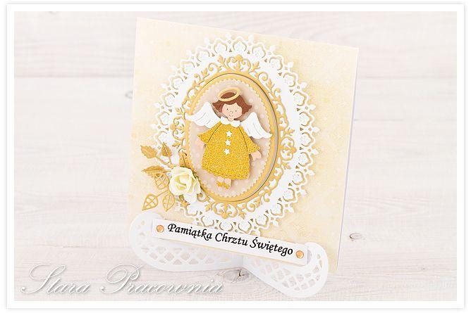 Kartki ręcznie robione na chrzest z aniołkami :-) kartka ręcznie robiona na chrzest święty. www.facebook.com/starapracownia www.starapracownia.blogspot.com