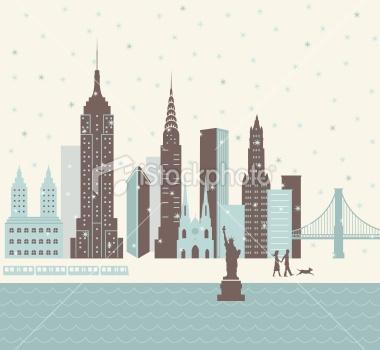 New York City Winter Royalty Free Stock Vector Art Illustration