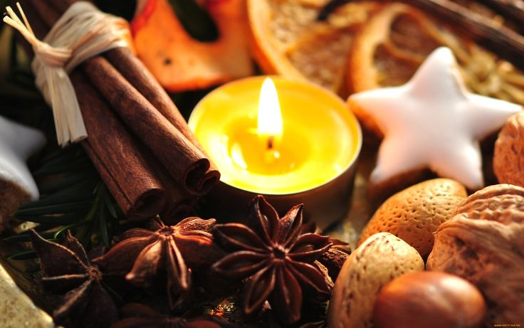 праздничные, новогодние, свечи, специи, орехи