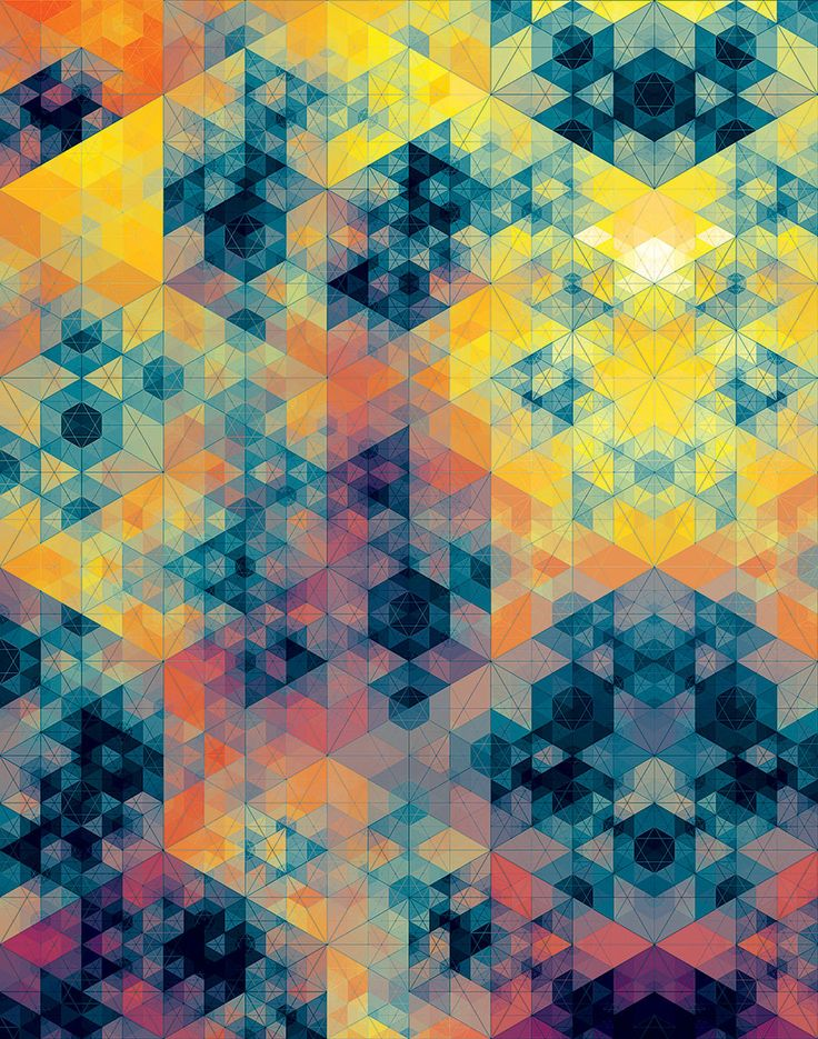 andy gilmore, yellow blue and orange geometric art