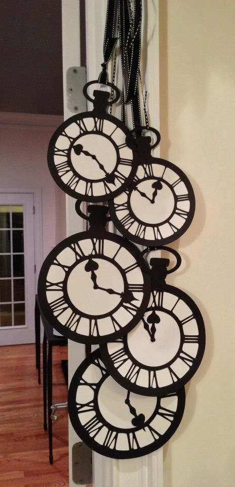I found a free pocket watch printable at http://thegraphicsfairy.com/vintage-clip-art-black-and-white-pocket-watches/. Add some black ribbon and makes a great mobile