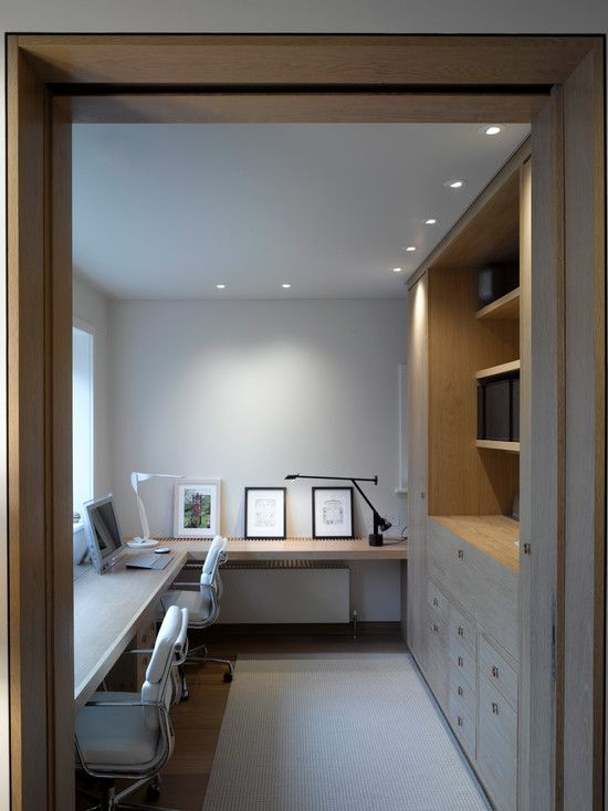 contemporary home office design. Like the layout for a long, narrow room, but would opt for more traditional looking cabinets and furniture.
