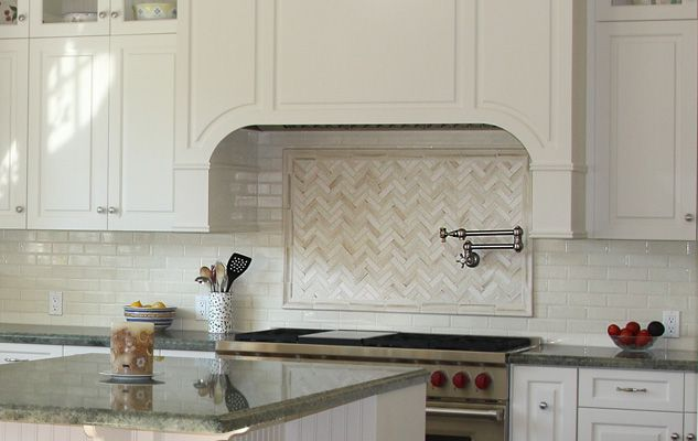 Encore Ceramics Our 1x3 Herringbone Mosaic Is The Focal